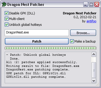 dragon nest manual patch 230