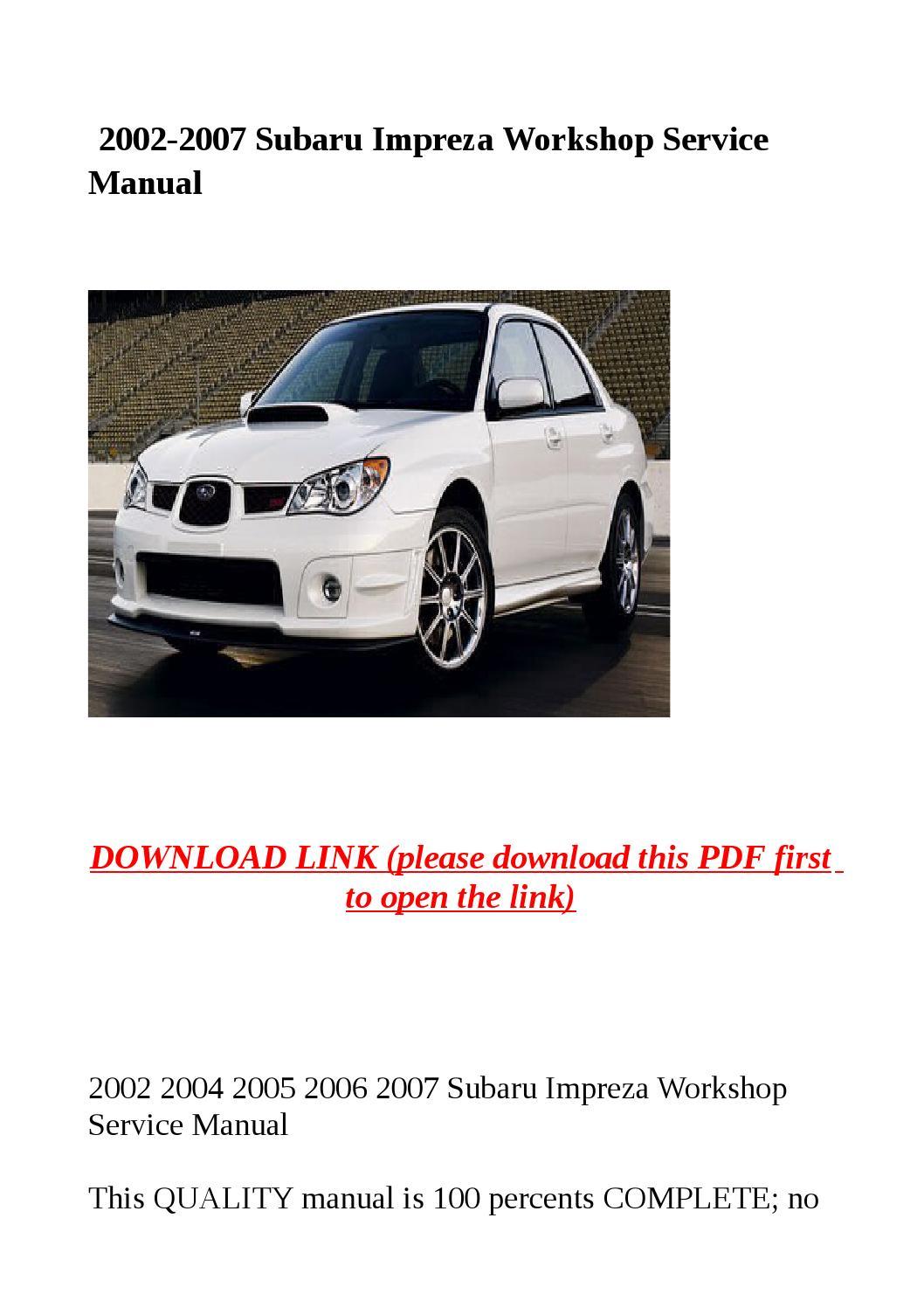 subaru impreza 2007 service manual pdf