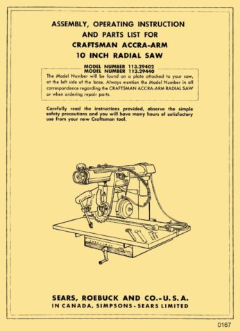 craftsman radial arm saw owners manual