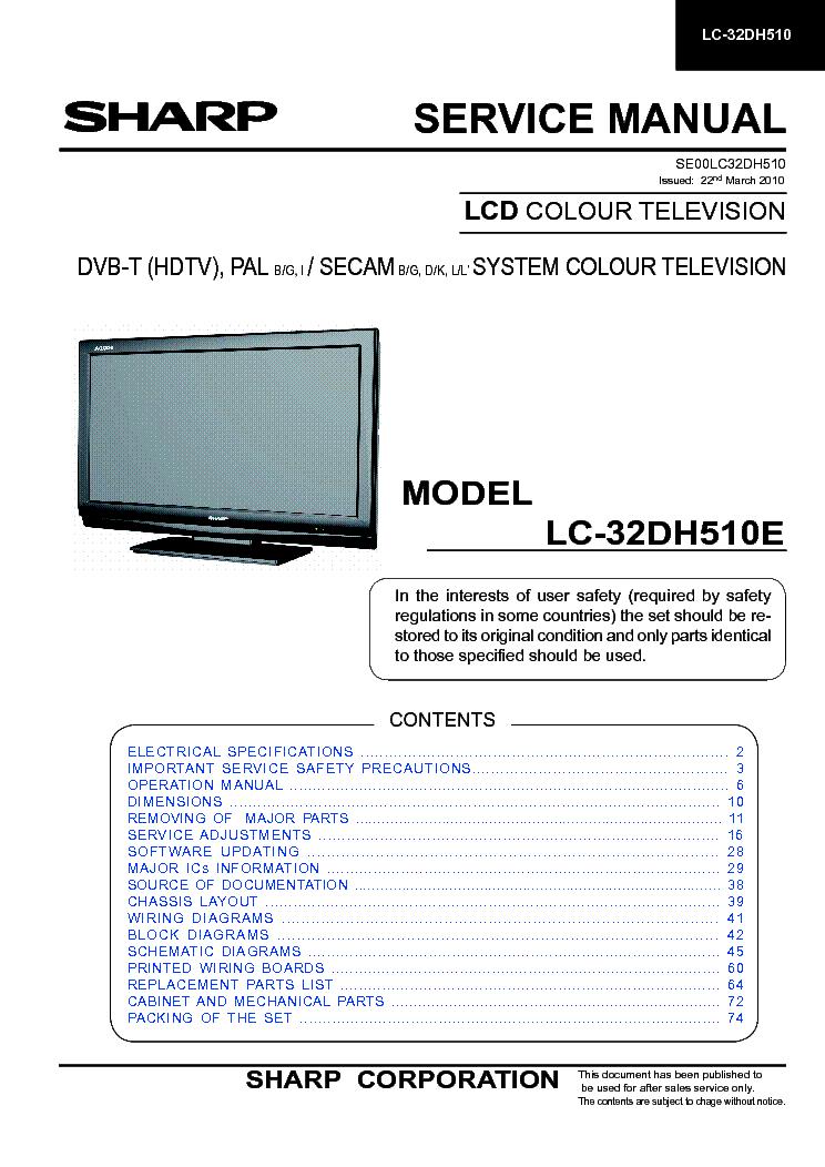 sharp crt tv service manual