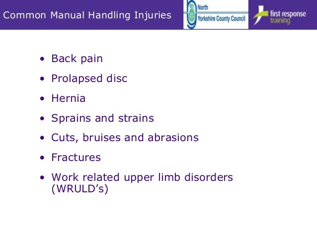 common injuries poor manual handling