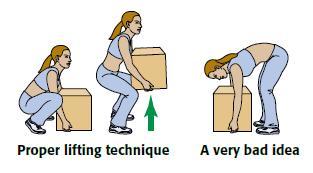 manual handling techniques bench posture